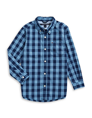 Tommy Hilfiger Plaid Sport Shirt-BLUE-3