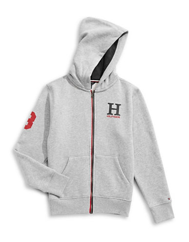 Tommy Hilfiger Logo Hoodie-GREY-3