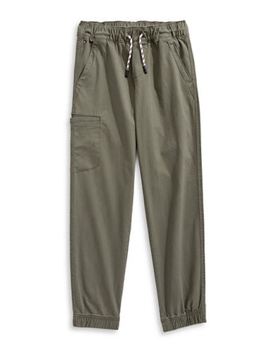 Tommy Hilfiger Herringbone Cargo Joggers-GREEN-Medium