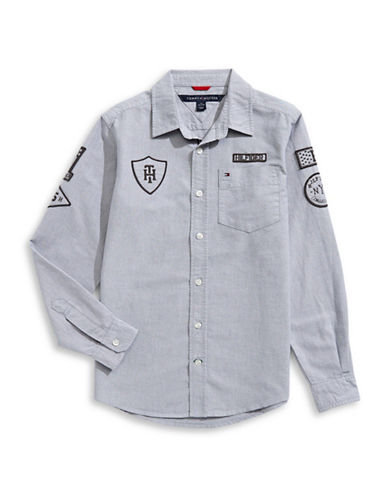 Tommy Hilfiger Woven Sport Shirt-GREY-Small