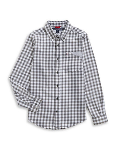 Tommy Hilfiger Plaid Sport Shirt-GREY-X-Large
