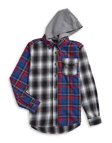 Tommy Hilfiger Hooded Flannel Sport Shirt-BLUE-Large
