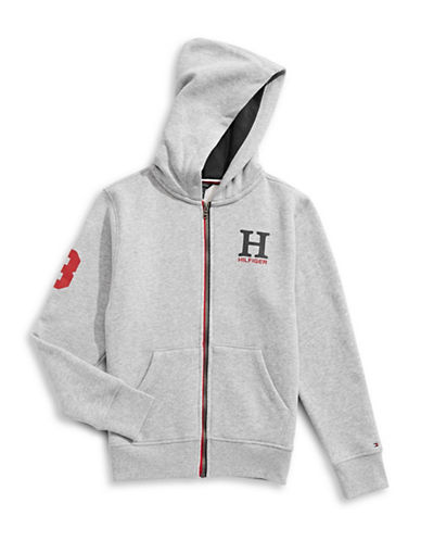Tommy Hilfiger Front Zip Hoodie-GREY-X-Large