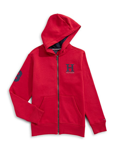 Tommy Hilfiger Front Zip Hoodie-RED-X-Large