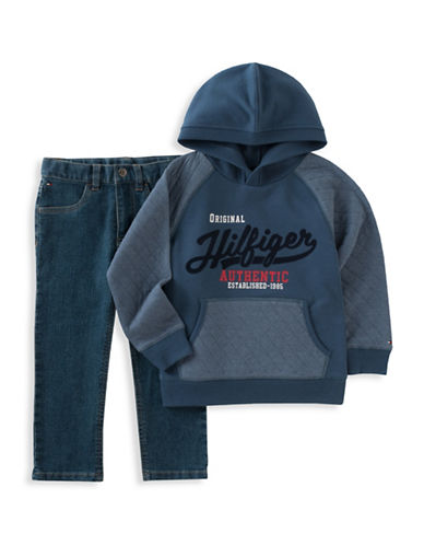 Tommy Hilfiger Two-Piece Logo Hoodie and Jeans Set-BLUE-4T