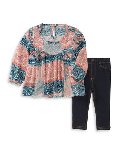 Lucky Brand Two-Piece Patterned Blouse and Denim Leggings Set-PINK-12 Months
