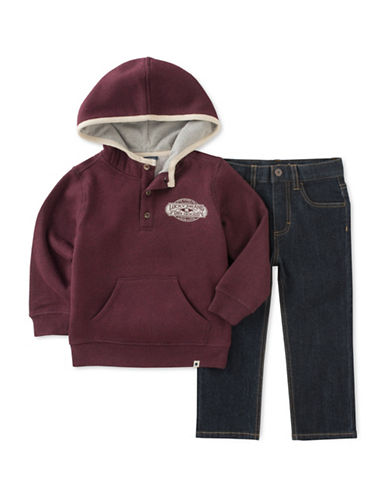 Lucky Brand Two-Piece Fleece Hoodie and Jeans Set-ASSORTED-3T