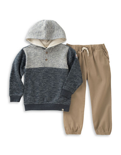 Lucky Brand Two-Piece Heather Hoodie and Pants Set-ASSORTED-4