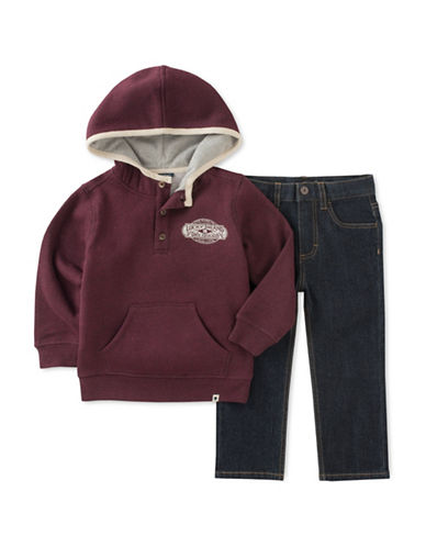 Lucky Brand Two-Piece Fleece Hoodie and Jeans Set-ASSORTED-4