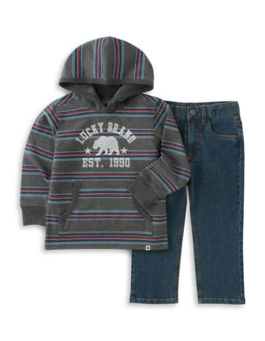 Lucky Brand Two-Piece Striped Hoodie and Pants Set-GREEN-18 Months