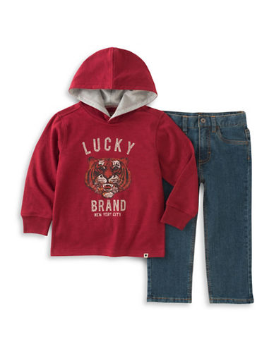 Lucky Brand Two-Piece Hoodie and Pants Set-RED-24 Months