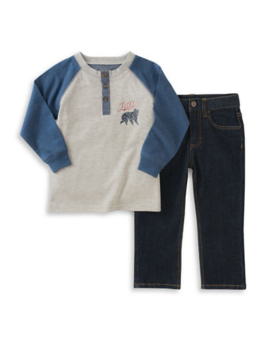 Lucky Brand Two-Piece Top and Pants Set-BLUE-12 Months