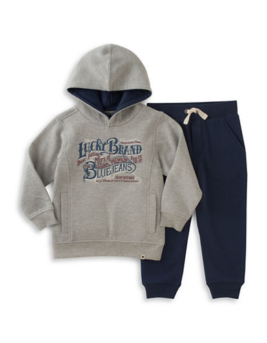 Lucky Brand Two-Piece Hoodie and Pants Set-GREY-12 Months