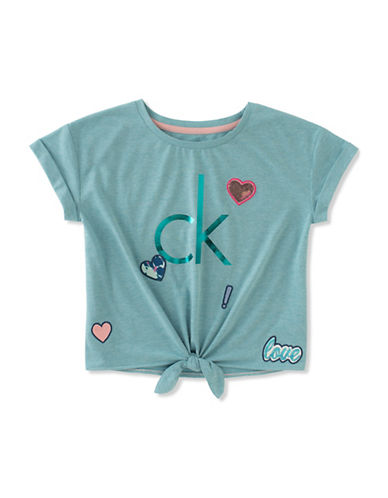 Calvin Klein Patch Tie Front Tee-TEAL-Large