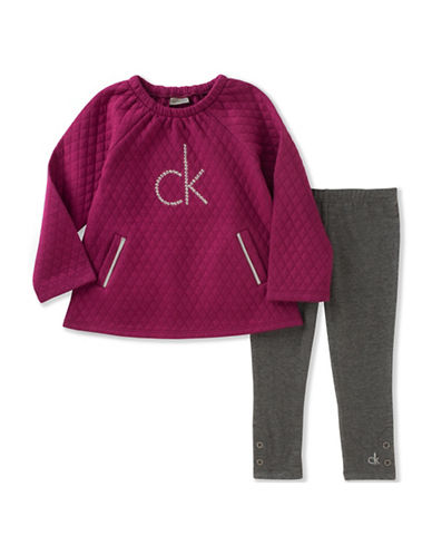 Calvin Klein Two-Piece Quilted Tunic and Leggings Set-RASBERRY-12 Months