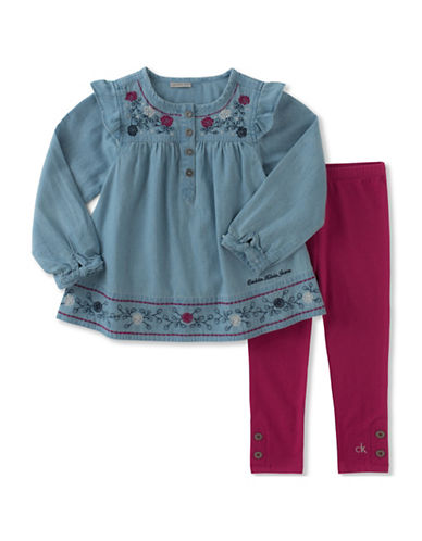 Calvin Klein Two-Piece Ruffle Tunic and Leggings Set-RED-18 Months