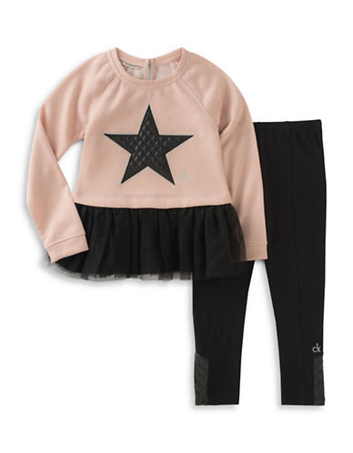 Calvin Klein Two-Piece Quilted Star Blouse and Elasticized Leggings Set-ASSORTED-4X