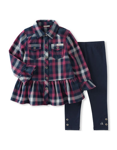Calvin Klein Two-Piece Plaid Cotton Tunic and Leggings Set-BLUE-18 Months