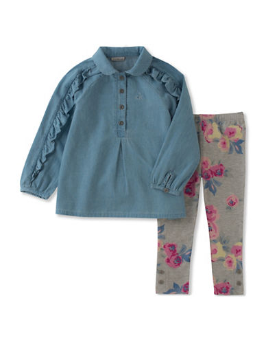 Calvin Klein Two-Piece Denim Top and Floral Leggings Set-ASSORTED-4X
