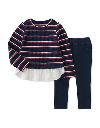 Tommy Hilfiger Two-Piece Stripe Cotton Tunic and Leggings Set-BLUE/RED-18 Months
