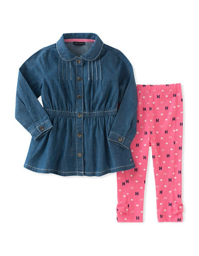 Tommy Hilfiger Two-Piece Denim Tunic and Leggings Set-PINK-12 Months