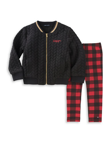 Tommy Hilfiger Two-Piece Bomber Jacket and Plaid Leggings Set-BLACK-24 Months