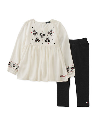Tommy Hilfiger Two-Piece Crepe Top and Leggings Set-WHITE-24 Months