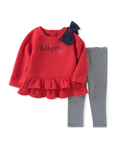 Tommy Hilfiger Babys Two-Piece Tunic and Leggings Set-PINK-24 Months