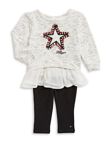 Tommy Hilfiger Two-Piece Star Top and Leggings Set-GREY-24 Months