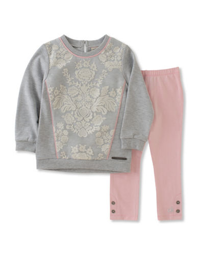 Calvin Klein Two-Piece Lace Sweatshirt and Leggings Set-PINK-12 Months