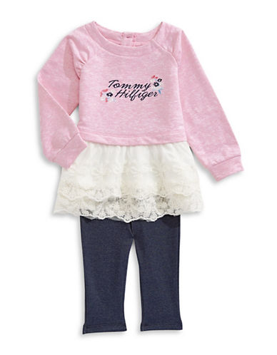 Tommy Hilfiger Embroidered Lace-Hem Tunic with Leggings Set-PINK-18 Months