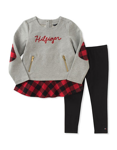 Tommy Hilfiger Two-Piece Flannel Legging Set-ASSORTED-4X