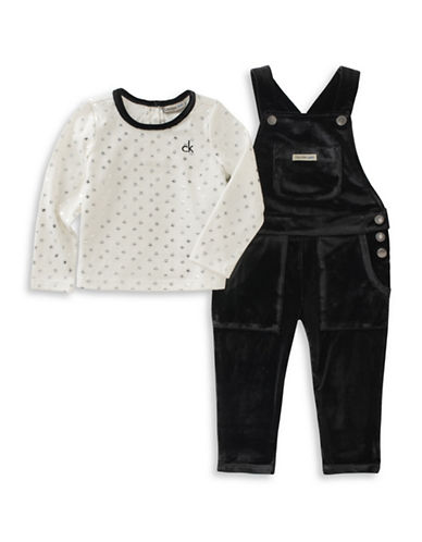 Calvin Klein Two-Piece Star Tee and Velvet Overall Set-BLACK-12 Months