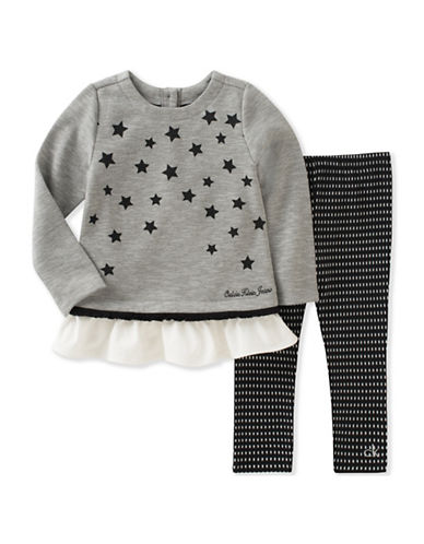 Calvin Klein Two-Piece Sparkle Tunic and Leggings Set-GREY-12 Months