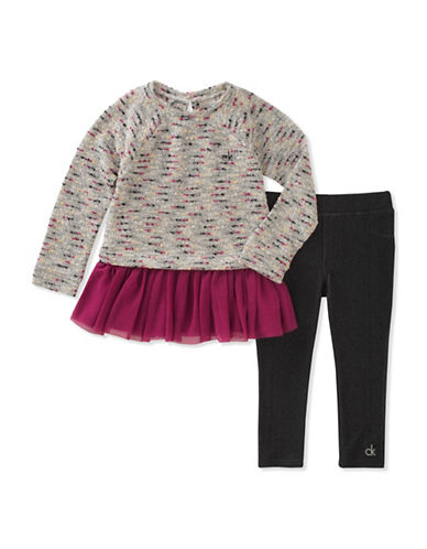 Calvin Klein Two-Piece Ruffled Top and Elasticized Leggings Set-ASSORTED-5
