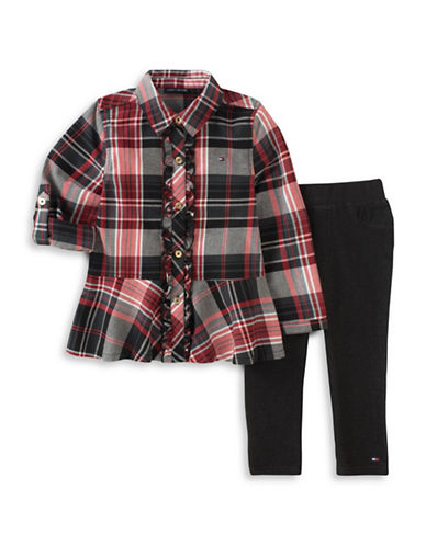 Tommy Hilfiger Two-Piece Plaid Tunic and Leggings Set-PINK-12 Months