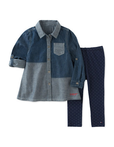 Tommy Hilfiger Two-Piece Mixed Denim Cotton Tunic and Leggings Set-BLUE-24 Months