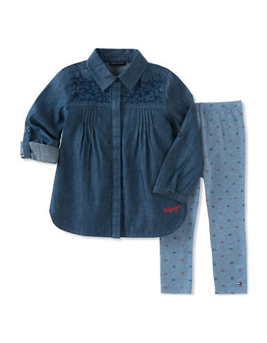 Tommy Hilfiger Two-Piece Denim Tunic and Leggings Set-GREY-12 Months