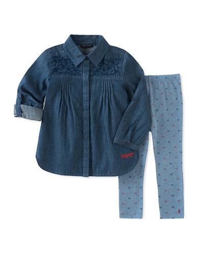 Tommy Hilfiger Two-Piece Embroidered Denim Shirt and Leggings Set-ASSORTED-6