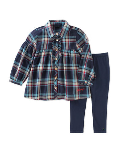 Tommy Hilfiger Two-Piece Woven Plaid Shirt and Leggings Set-ASSORTED-5