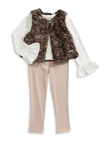 Calvin Klein Three-Piece Faux Fur Vest, Pleated Top and Pants Set-ASSORTED-4X