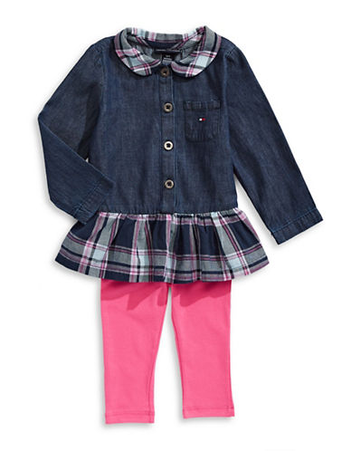 Tommy Hilfiger Chambray and Plaid Tunic with Leggings Set-BLUE-24 Months