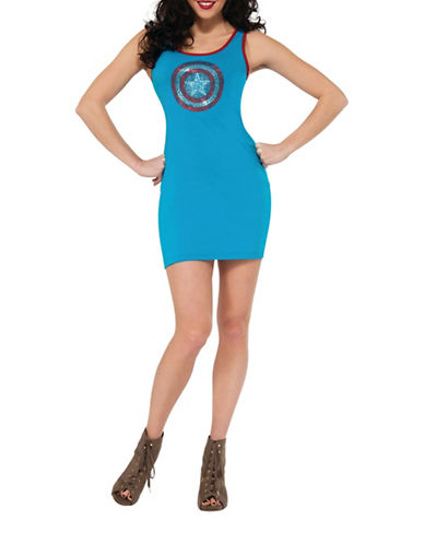 Rubies Costumes Womens Rhinestone Captain America Costume-BLUE-Small