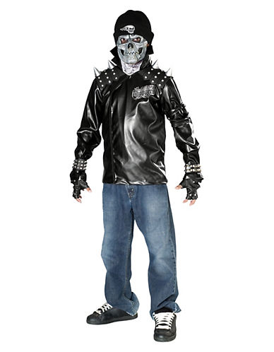 Rubies Costumes Kids Metal Skull Biker Costume-BLACK1-Large