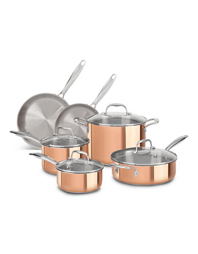 Kitchenaid Tri-Ply Copper Stainless Steel 10-Piece Set - Induction Ready-BROWN-One Size