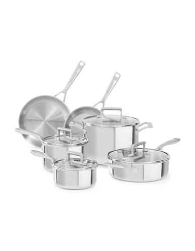 Kitchenaid Tri-Ply Stainless Steel 10-Piece Cookware Set - Induction Ready-STAINLESS STEEL-One Size