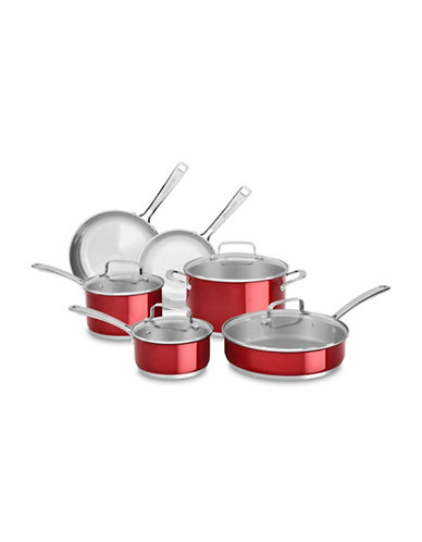 Kitchenaid 10-Piece Stainless Steel Cookware Set-CANDY APPLE RED-One Size