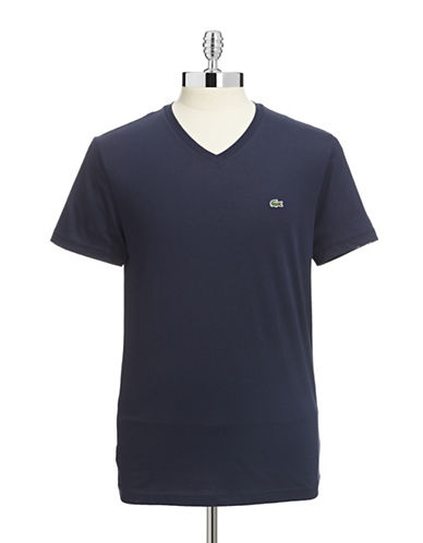 Lacoste Pima Cotton V Neck T Shirt-MARINE-Medium