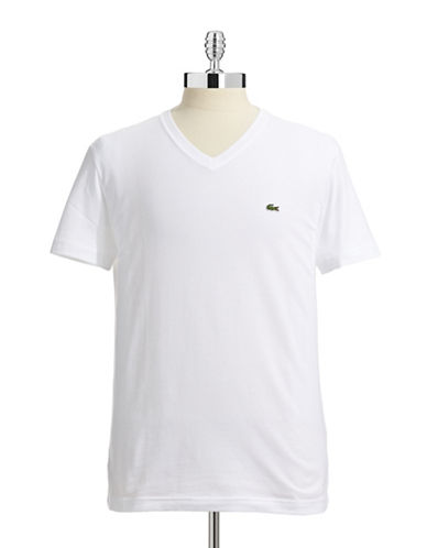 Lacoste Pima Cotton V Neck T Shirt-WHITE-XX-Large