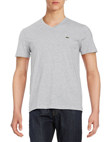 Lacoste Pima Cotton V Neck T Shirt-SILVER-Medium